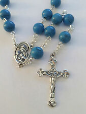 Sterling Silver Sacred Heart Turquoise Traditional Catholic Prayer Rosary Beads