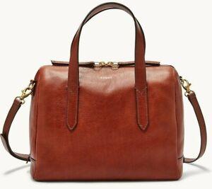 Fossil Sydney Satchel Crossbody Brown Leather Handbag SHB1978210 NWT $178 Ret FS