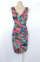 TEABERRY Tiered Pencil Dress Sleeveless V-Neck Pink, Green Print Sz 12
