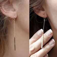 1Pair Women Gold Plated Long Dangle Drop Chain Hook Earrings Ear Stud Jewelry