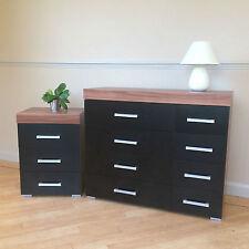 Black & Walnut 4+4 Drawer Chest & 3 Draw Bedside Cabinet Bedroom Furniture NEW