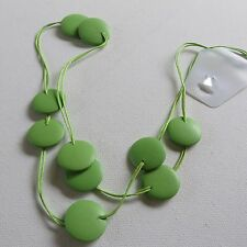 LONG SUMMER FUNKY CHUNKY LIME GREEN FLAT DISC BEAD & CORD NECKLACE new giftpouch