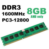 1600MHz 8GB DDR3 PC3-12800 Desktop PC DIMM Memory Ram Only For AMD Motherboard