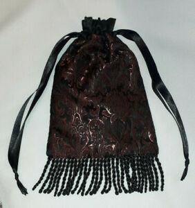 Wine Red and Black Brocade Drawstring Dolly Bag Evening Bag Purse Bride Fringed