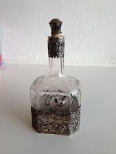 Antique silver crystal bottle Germany decanter 18th decorated handmade (m921)