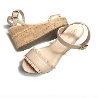 Kate Spade Tomas Nude Blush Beige Leather Wedge Sandals 9.5 NEW