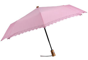 New LEIGHTON UMBRELLAS Folding Auto Open Close LACE EYELET Wooden Handle PINK