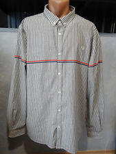 Fred Perry Striped White Grey Button Front Dress Shirt XXL