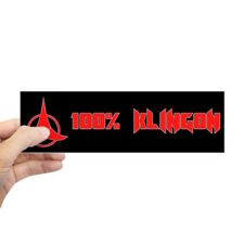 Star Trek Movies Bumper Sticker, 100% Klingon
