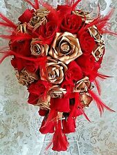 Gold and bright red teardrop Wedding bouquet  red feathers  diamantes ANY COLOUR