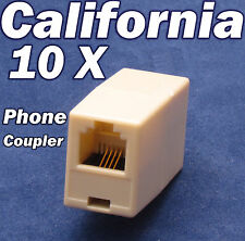 Lot 10 X Phone Coupler RJ11 Joiner Adapter Telephone Cable wire Jack Connector