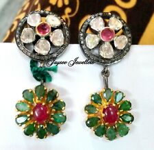 Natural Ruby,Emerald Gemstone With Polki Diamond Fancy 925 Solid Silver Earring