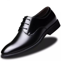Men's Faux Leather Dress Formal Shoes Business Wedding Oxford Pointy Toe Lace Up
