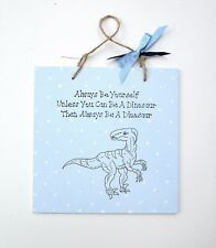 Dinosaur - Dinosaur Plaque - T Rex Sketch - Handmade Plaque - Dinosaur Decor