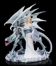 Elves Figurine - Calista with Ice Dragon - Fantasy Fairy Decor Lizard