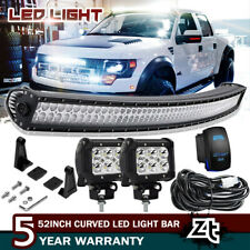 "52"" Inch 300W Curved Combo Offroad LED Work Light Bar+Wiring Rocker+2x Cube Pods"
