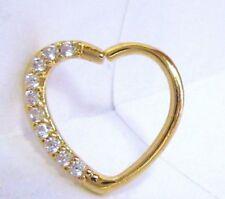 18k Yellow Gold Loaded Crystal Heart Cartilage Hoop Ring Seamless 16 gauge 16g