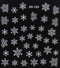 Christmas SILVER Glittery Snowflakes Xmas 3D Nail Art Stickers Decals Manicure