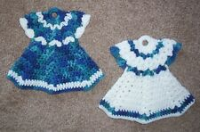 DRESS POTHOLDERS, Crochet, PAIR, New, BLUE VARIEGATED & WHITE, Handmade SET OF 2