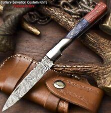Custom Handmade Damascus Pocket Back-Lock Pocket Folding Knife | HARD WOOD
