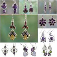 Amethyst Flower 925 Silver Women Jewelry Proposal Wedding Dangle Drop Earrings