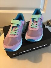 NEW Girls Under Armour Sneakers Shoes Size 2.5 Youth Purple Blue