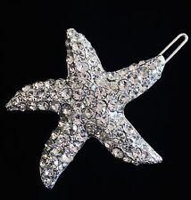USA Hair Clip use Swarovski Crystal Hairpin Starfish Mermaid Silver Clear Bridal