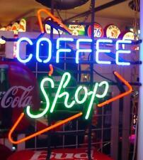 "Coffee Shop Open Neon Lamp Sign 17""x14"" Bar Light Glass Artwork Display"