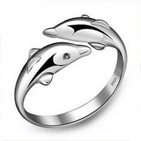 silber Dolphin Öffnung Ring Eheringe Freundschaftsringe Partnerringe Trauri P5Q9
