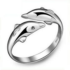 New Fashion Silver Double Dolphin Opening Rings Gift Adjustable