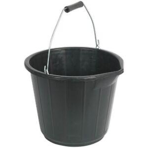 Plastic Bucket Black Heavy Duty Standard 3 Gallon / 14 Litre Builders Equestrian