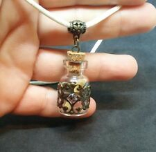 TINY GLASS VIAL CHARM MESSAGE IN A BOTTLE PENDANT WHITE NECKLACE