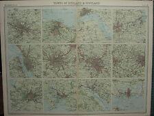 1920 LARGE MAP ~ TOWNS OF ENGLAND & SCOTLAND MANCHESTER BIRMINGHAM EDINBURGH
