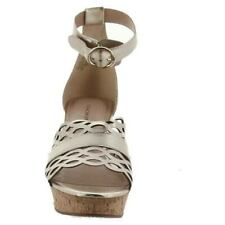 Isaac Mizrahi Gold Leather Macie Ankle Strap Cork Wedge Sandal Women's 8WIDE