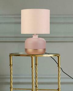 Bedside Table Pink & Rose Gold Lamp Light Night Lighting Home Bedroom Décor H11""