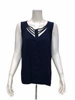SA by Seth Aaron Women's Sleeveless Top with Cut-Out Details Navy Size 14
