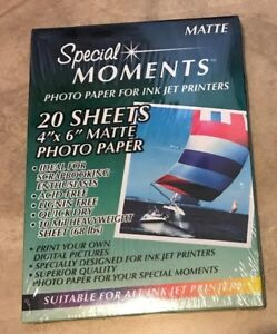 "4"" x 6"" Photo Paper Matte 20 Sheets /pack NEW Factory Sealed Acid Free"