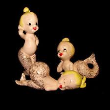 RARE!  Vintage MERMAID 3 Sister Figurine Set - Pink Fish Girls for Bath