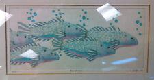 """""""Fish at School"""" Ltd Ed 29/100 signed framed 6.5""""x13.5"""""""