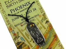 Egyptian Zodiac; Phoenix - God of Immortality 2 Sided Pewter Pendant #STA-EBS106