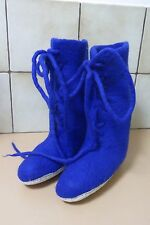 NWOT ISHKA Size 36 / 5.5 Ladies Blue Flat Boots Felt Lace Up Tribal Boho Hippie