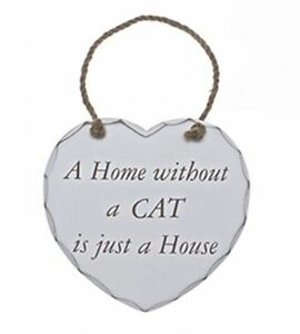 Home Without A CAT  Shabby Chic Wooden Heart hanging Plaque