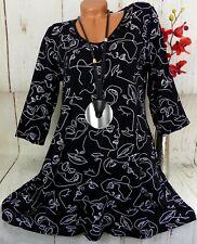 New Jersey Tunika Bluse Kleid Top Shirt Lagenlook A-Linie Weiß Schwarz M 38 40