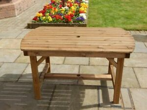 WOODEN GARDEN FURNITURE - 4 FT 6 INCH PATIO TABLE - DELIVERED FULLY ASSEMBLED