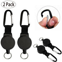 2X Retractable Key Chain Reel Recoil Pull Badge Reel w/27 Inches Key Ring Rope