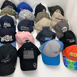 Lot of 20 Ball Caps Baseball Hats Sports Trucker Trump Car Related