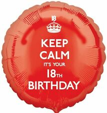 "KEEP CALM - IT'S YOUR 18TH BIRTHDAY Red 18"" Round Foil Helium BALLOON Party 18"