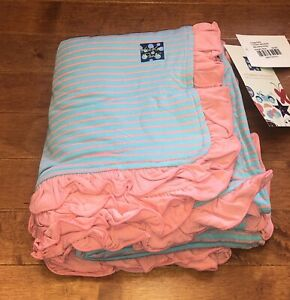 Kickee Pants Strawberry Stripe Ruffle Toddler Blanket New Free Priority Shipping