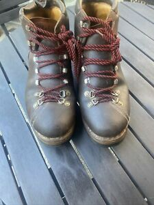 RAICHLE MEN VINTAGE LEATHER RED LACE UP MOUNTAINEERING/HIKING/TRAIL BOOTS 10.5