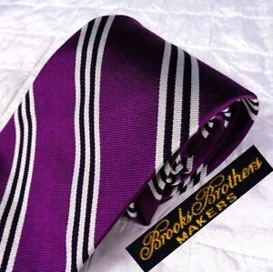 BROOKS BROTHERS Purple 100% Silk Tie Necktie Dark Blue Silver Stripes Repp Ivy